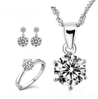 2016 New arrival high quality shiny zircon crystal 925 sterling silver wedding jewelry set/rings/stud earrings/necklaces gift