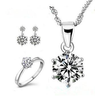 2016 Nueva llegada de la alta calidad brillante de cristal de circón plata de ley 925 joyería de la boda/anillos/pendientes/collares regalo