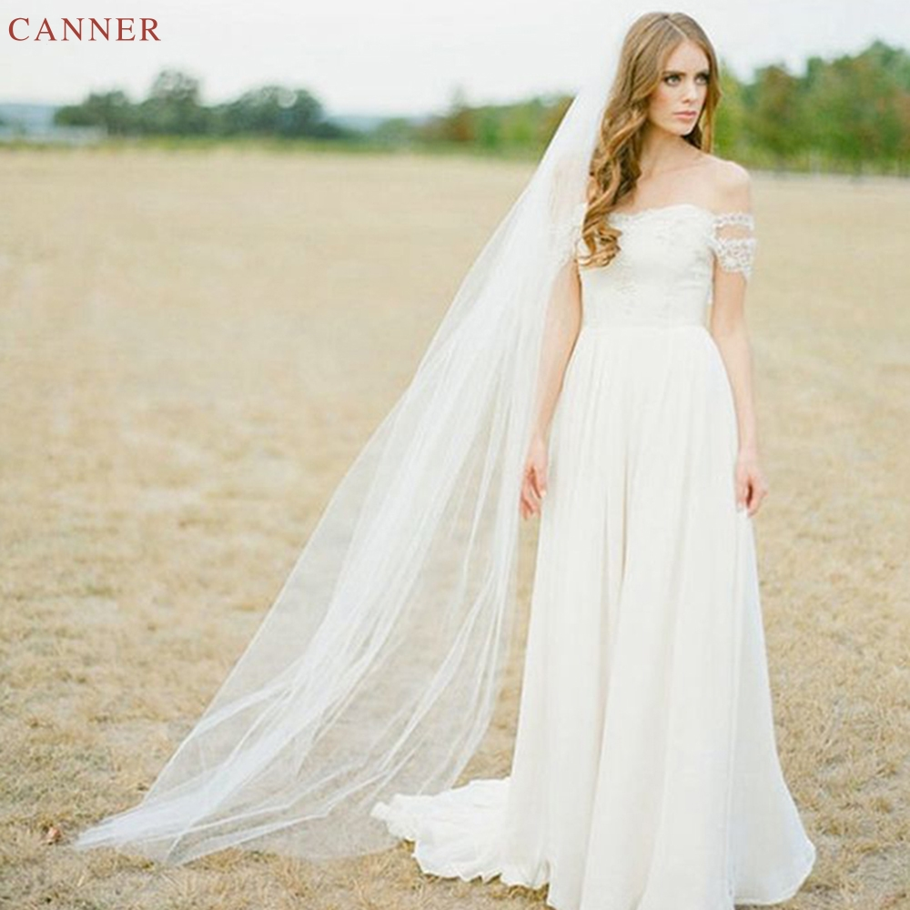 2M White Cathedral Wedding Veil 2Meters One Layer Long Bridal Veils Ivory Wedding Accessories C40