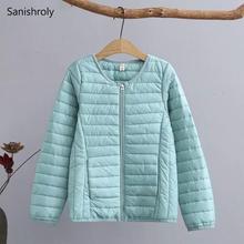 Sanishroly New Women Warm Cotton Coat Parka Autumn Winter Female Long Sleeve Thin Jacket