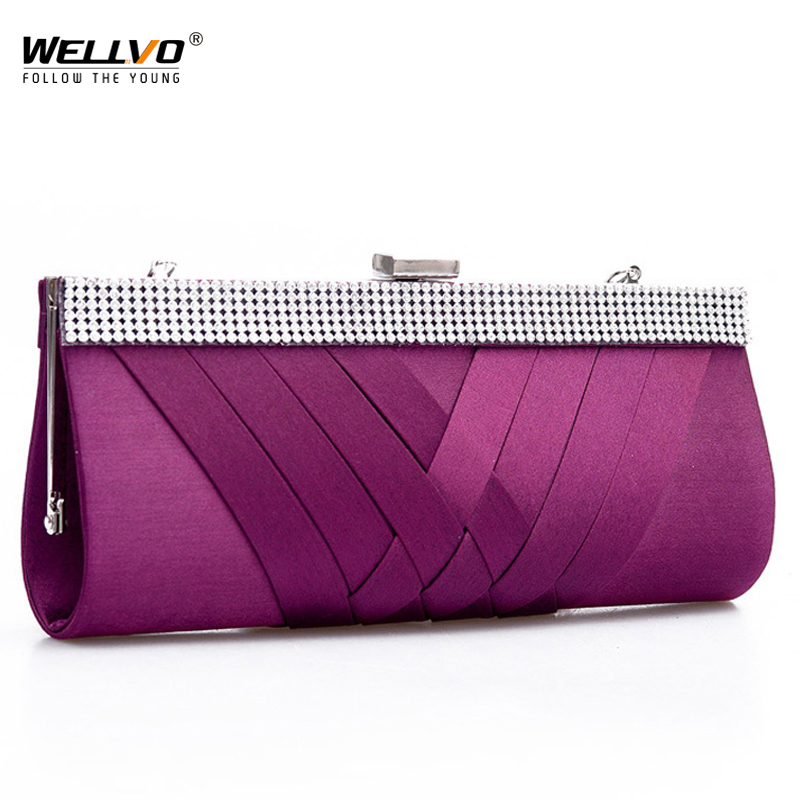 Women Day Clutch Ladies Purse Chain Handbags Women Evening Bag Purple Bride Wedding Party Hand Bags Clutches bolsas mujer XA187C