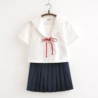Japanese Sailor Suit For Girls Summer Student Japan Short sleeved Tops+ Pleated Skirt School Uniform Set Cute Cosplay JK Costume