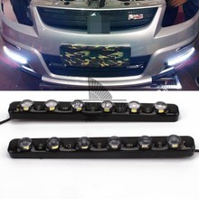 цена на 1pair LED High Power Car 6LEDS White Daytime Running Light DRL Fog Warning Decorative Lamp High Power Waterproof Universal Fit