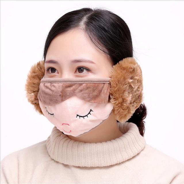 kawaii girls women Ear protective mouth mask Windproof earmuff anti dust winter masks Anti Haze Flu cotton Face masks 2