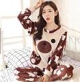 Coral de Veludo macio Outono Caráter Completo Manga Em Torno Do Pescoço Camisas de Pijama para as mulheres Soltas Casual Homewear Macio Quente para a Menina