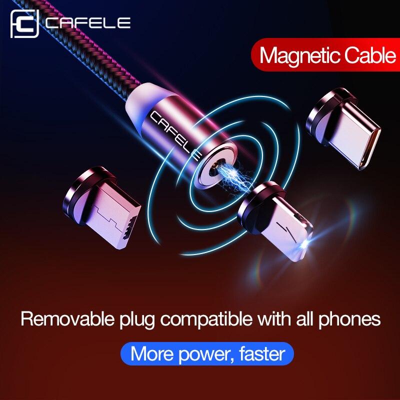 CAFELE 1 m LEVOU Magnética Ímã Cabo USB Plug USB Tipo C IOS Micro USB Plug para samsung huawei xiaomi iPhone Xs Xr X 8 7 6 Plus 5 1