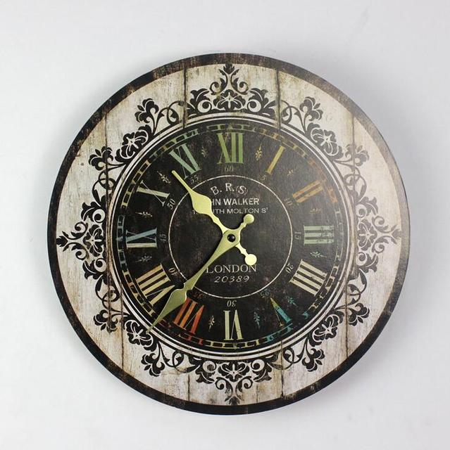 Vintage Flower Painting Wall Clock 35*35mm Round Wood Clock Home Deco Living Room Accessories