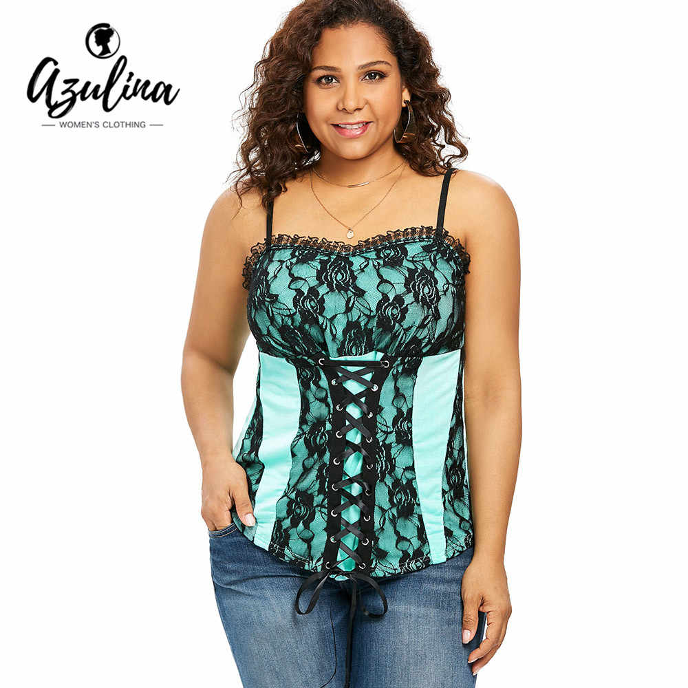 db3a3e660f062 AZULINA Plus Size Ruffle Trim Floral Lace Up Cami Tank Top Ladies Tops  Summer Casual Spaghetti