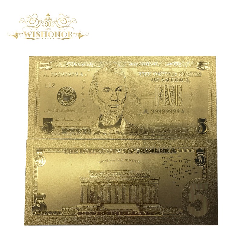 Wedding Gift For US Banknote <font><b>5</b></font> <font><b>Dollars</b></font> <font><b>Bill</b></font> Gold Banknote in 24K Gold Plated Replica For Collection image