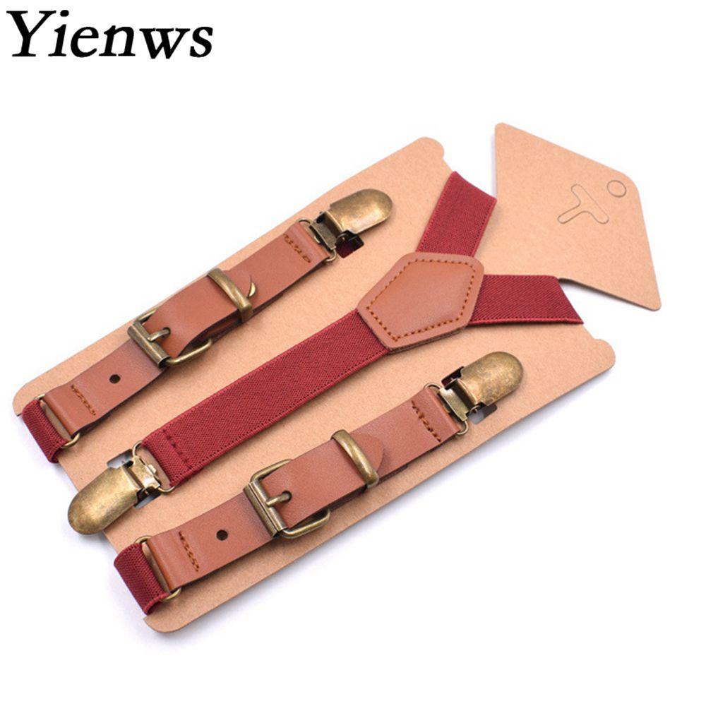 Yienws 3 Clasp Pants Suspenders For Boys Girls Fashion Y-back Elastic Strap Braces For Children 75cm Burgundy Suspensorio