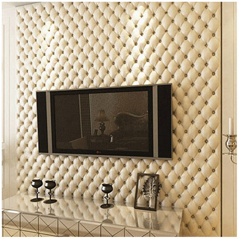 3D Faux Leather Soft Package Wallpaper Roll PVC Waterproof Living Room TV Wall Decoration Wallpaper Bedroom Papel De Parede