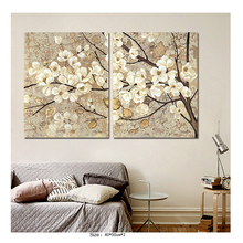 2 Pieces Retro Chinese Style White Flowers Canvas Painting For Bedroom Wall Art