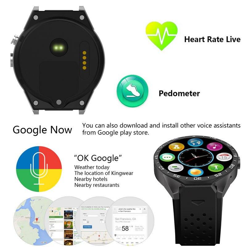 KW88 Smart Watch Phone Android 5.1 Quad Core MTK6580 512 MB di RAM 4 GB ROM Supporto Frequenza Cardiaca 3G Wifi GPS Sensore di Gravità Pedometro - 3