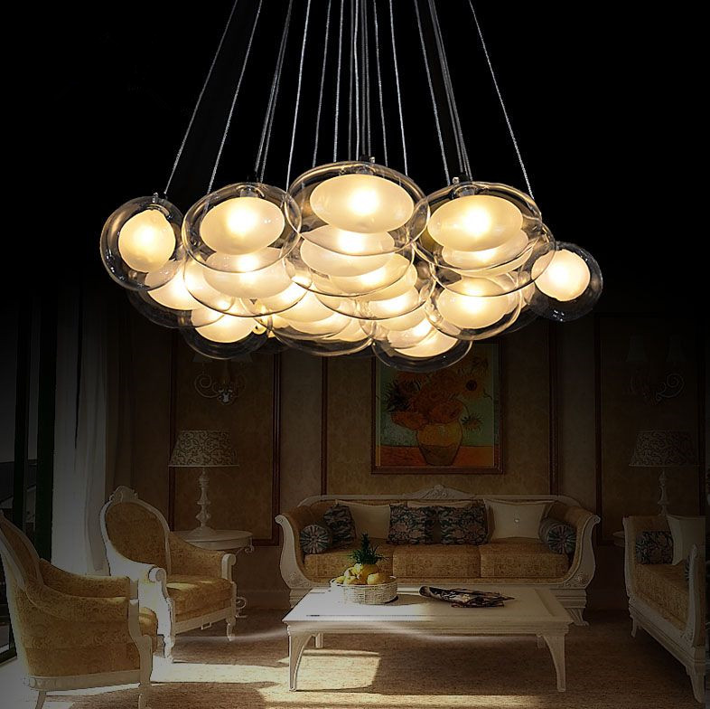 Modern Creative Glass Bubble Ball Chandelier Goose Eggs In The Bedroom Romantic Restaurant Hanging Lamp