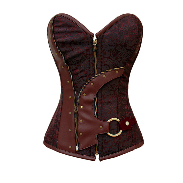 Sexy women lingerie Brown Brocade gothic steampunk clothing Corset waisting Belly bustier overbust corselet harnesses 5313