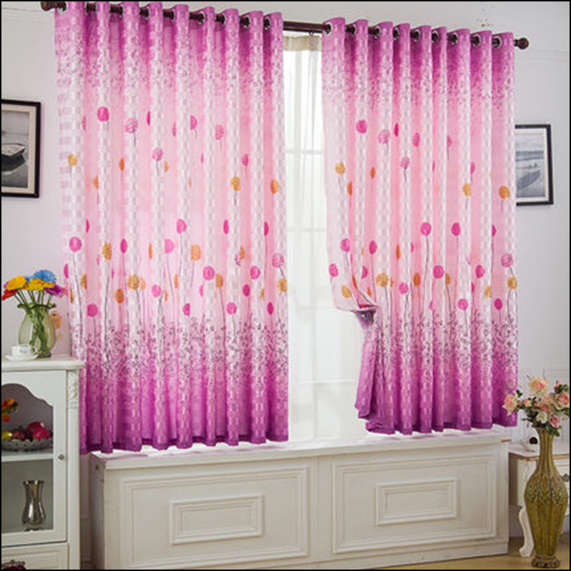 Modern 17 Colors Floral Curtains For Bedroom Window
