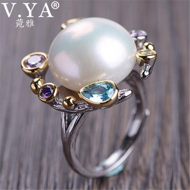V YA Natural Freshwater Pearl Zircon Rings 925 Sterling Silver Ring for Women Female Ladies Vintage