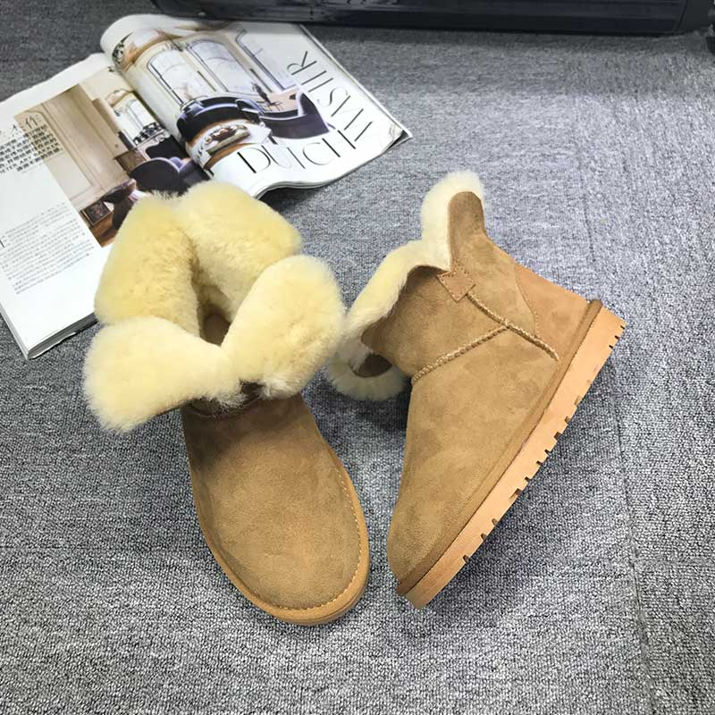 GXLLD Hot Sale Shoes Women Boots Solid Slip-On Soft Cute Women Snow Boots Round Toe Flat with Winter Fur Mid-Calf Boots 2017 new arrival hot sale women boots solid bowtie slip on soft cute women snow boots round toe flat with winter shoes wsz31