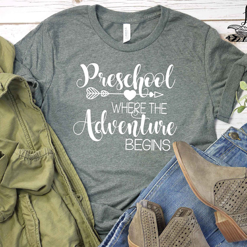 Preschool Where The Adventure Begins Tshirt Heart Arrow Graphic Tees Women Funny Wondrous Shirts Mom Life Cotton Tops Drop Ship