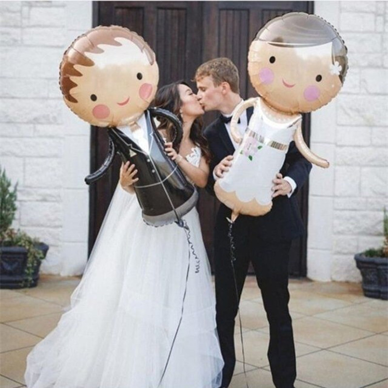 1pcs Bride Groom Wedding Decorations Foil Balloons Marriage Boy Girl Love Helium Balls Valentine's Day Event Party Supplies Toys