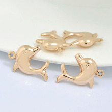 6PCS 21x16MM 24K Champagne Gold Color Plated Brass Dolphin Charms Pendants High Quality Diy Jewelry Accessories