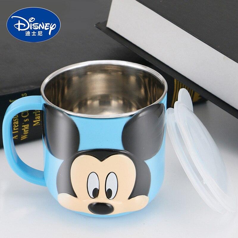 Disney 300 ml crianças caneca de leite de aço inoxidável 2019 bebê durável crianças alimentando leite copo mickey minnie casa escola copo com capa