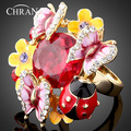 18 K Banhado A Ouro Zircão Jóias Atacado Elegante Esmalte De Cristal Joaninha Padrão Borboleta Flor Anéis Para As Mulheres