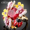 18 K Chapado En Oro Circón Joyería Elegante Al Por Mayor de la Mariquita de Cristal Patrón de Mariposa Del Esmalte Anillos de La Flor Para Las Mujeres