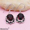 Hermosa Jewelry Charming retro classic red garnet 925 sterling silver beautiful earrings HF87