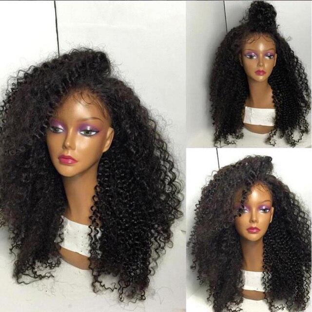 Плотность 180% Афро Кудрявый Вьющиеся Полный Парик Шнурка Для Чернокожих Женщин бразильский Виргинский Человеческие Волосы Толстые Афро Вьющиеся Gluless Кружева Перед Парики