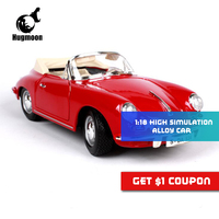 1 18 1961 Porschee 356B Cabriolet Scale Metal Toy Car Die Cast Model Diecasts Vehicles Collection