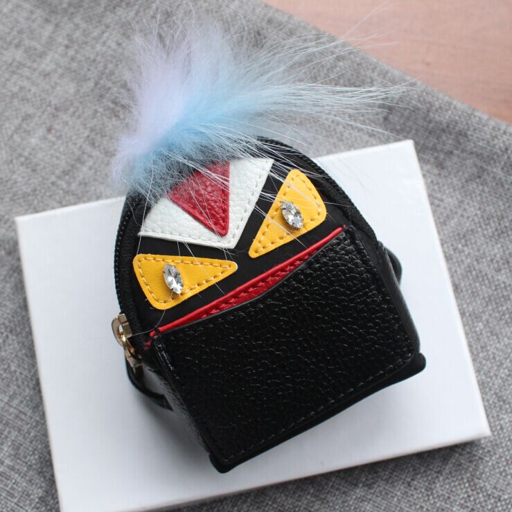 Monster PU Leather Small Mini Coin Purse Keychain Wallet Women Mini Bag Key Chain Bag Pendant top quality mini chain bag casual small bag mobile wallet shoulder bag