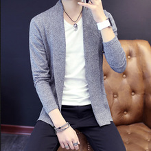 HOT20160Spring and Autumn new men knitted cardigan youth Korean knit cardigan jacket lapel knitted sweater line shirt
