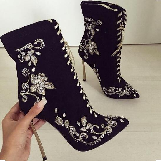 Zapatillas Mujer Braned Black Suede Leather Embroidery Ankle Boot Pointed Toe Blade Heel Lace-up Gladiator Sandals Boots WomenZapatillas Mujer Braned Black Suede Leather Embroidery Ankle Boot Pointed Toe Blade Heel Lace-up Gladiator Sandals Boots Women