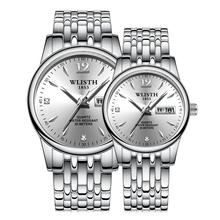 WLISTH Couple Watches Fashion Casual Quartz Watch Lover Men Women Business Gold Steel Band Wristwatch Luminous Lover Gilft