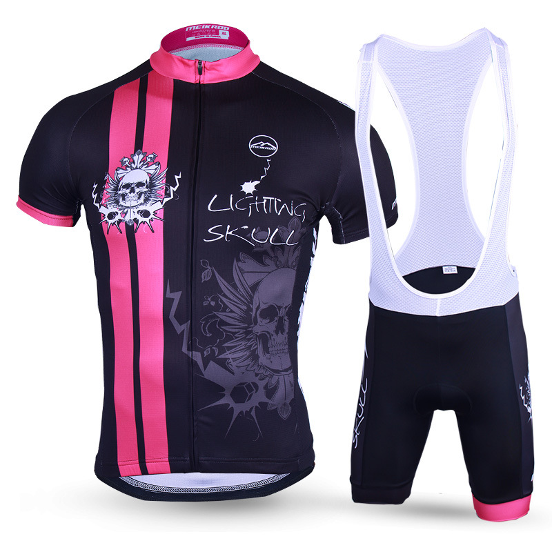 где купить Men's Cool Lighting Skull Cycling Jersey Anti-Sweat MTB Bike/Bicycle Sets Breathable Cycling Clothing Cycling Wear Jersey Suits дешево