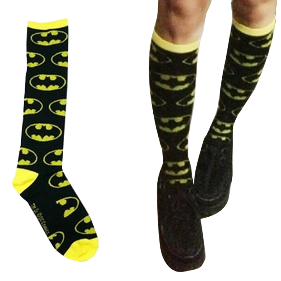 Batman Knee Sock Tube Socks Cartoon Hold-Ups Cotton Warm Stitching Pattern Antiskid Invisible Casual Unisex Fashion 2018