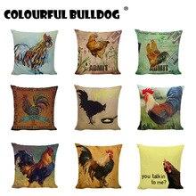 Funda de cojín creativa para Gallo, estampado de huevos de gallina coloridos de acuarela con sellos Vintage, funda decorativa para cojines de sofá