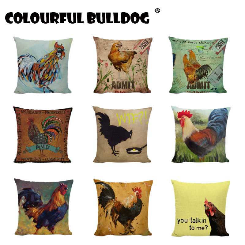 Creative Cock Cushion Cover Vintage Stamps Watercolor Colorful Chicken Eggs Print Garden Decorative Pillow Case For Sofa Cojines image