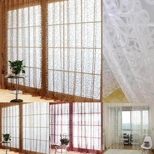 Room Floral Tulle Curtain Window Door Balcony Lifting Sheer Valance Decoration