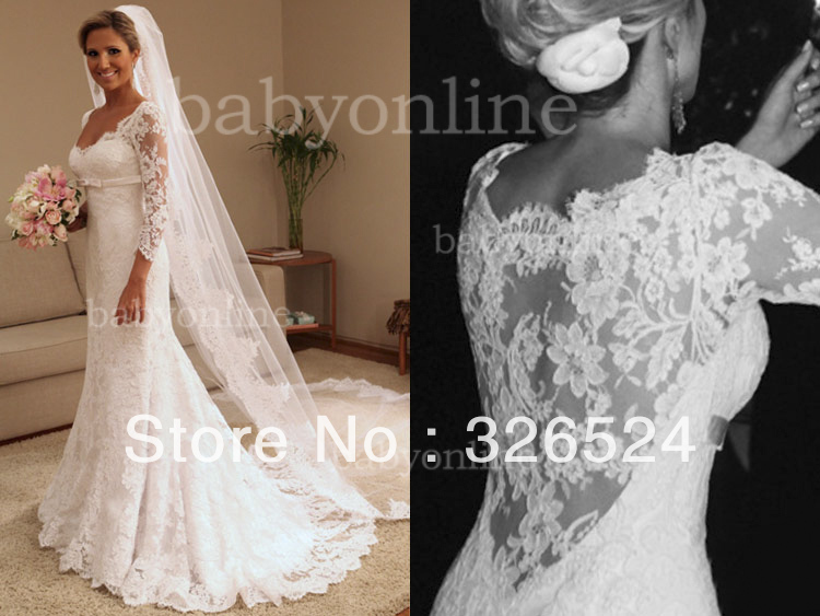 New arrivals 2013 sweetheart neckline Long lace sleeve Lace