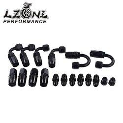 LZONE - 6 AN AN-6 prosto/90 /180 stopni aluminium obrotowy koniec węża montaż Adapter przewód paliwowy oleju + AN6 PORT wtyczka JR-SL10AN6-BK
