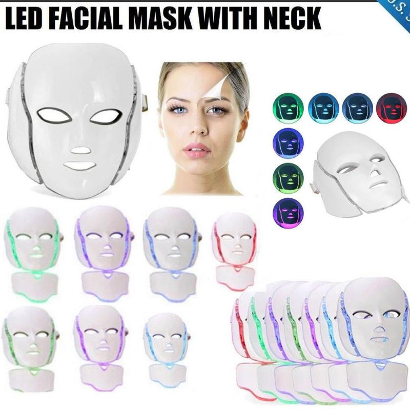 LED Photon Facial Neck Mask 7 Color Light Therapy Mask Instrument Face Skin Care Tools Beauty Anti-Aging Improve Fine Lines Z3 маска librederm plant stem cells anti age mask intensive care for face neck and decollete