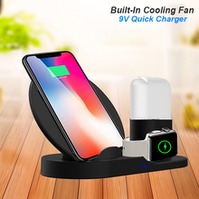3 in 1 10W Fast Qi Wireless Charger For iPhone XS Max XR X 8 Plus For Samsung For Apple Watch Charger For Airpods Phone Stand