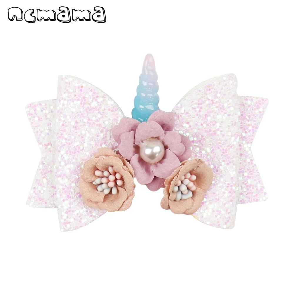 Ncmama Hair Accessories Hair Bows For Girls Kids Layers Glitter Hair Clips 3'' Pearls Floral Unicorn Bowknot Hairpins