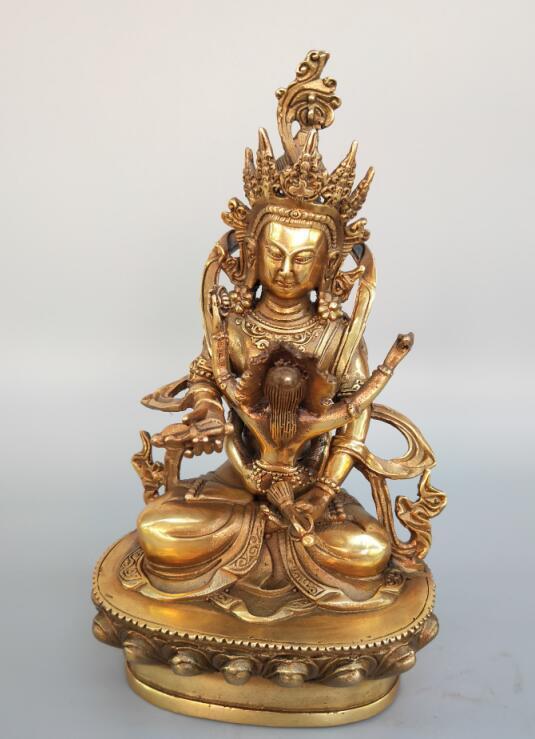 Statue de bouddha double corps en laiton pur chinoisStatue de bouddha double corps en laiton pur chinois