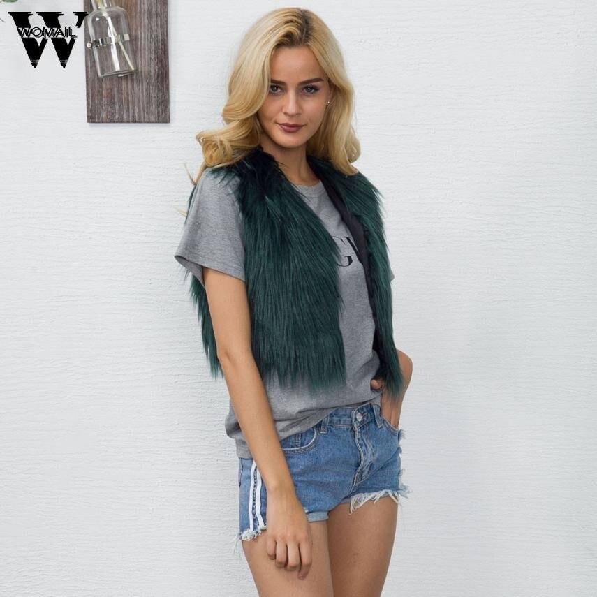 Womail faux fur coat women solid Sleeveless Vest Waistcoat Jacket Gilet Shrug Coat Outwear dec25