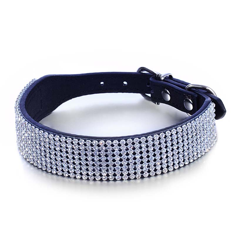 SYDZSW Dog Collar Luxury Crystal Diamand Puppy Pet Leads Black Red Rose Dog Necklace 372.5cm422.5cm Pet Products Dog Supplies3