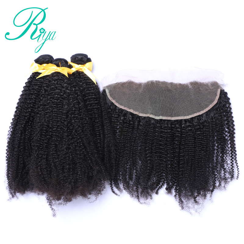 Mongolian Afro Kinky Curly Hair Weave With Frontal 4 Pcs Lot 3 Bundles Human Hair With
