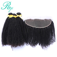 Mongolian Afro Kinky Curly Hair Weave With Frontal 4 Pcs/Lot 3 Bundles Human Hair With 13×4 Lace Closure Riya Hair Remy Hair